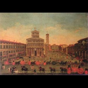 Painting of a view of S. Michele in foro square in a very crowded moment of the day.